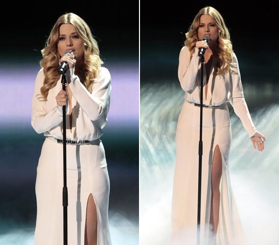 Cserpes Laura előadására nem véletlenül mondta azt a zsűri, hogy angyali volt, a csinos énekesnő egész megjelenése a légiességet sugallt. Ebben a hófehér darabban vett le mindenkit a lábáról.