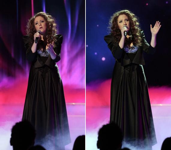 A Svédországban élő, teltkarcsú énekesnő, Hoffman Mónika balladájához egy földig érő, fekete darabot választott.