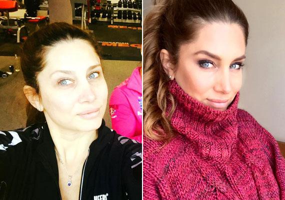 Horváth Éva arca ezen a bal oldali fotón nagyon fehérnek tűnik, egy jól megválasztott filterrel sokkal előnyösebb kép születhetett volna.
