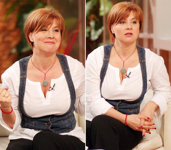 2009-ben, ugyancsak az RTL Klub reggeli beszélgetős műsorában, tiziánvörös hajszínnel.