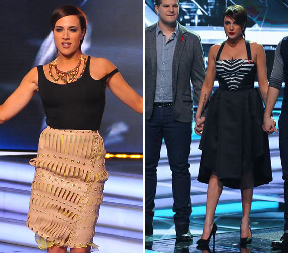 Tóth Gabi a 2013-as X-Faktorban viselte Abodi Dóra egy különleges kreációját - a nézők ilyen egyedi szoknyát még nem láttak rajta. A tervezőnő egy visszafogott, fekete-fehér csíkokkal díszített darabjában szerepelt a képernyőn.