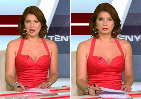 Szabása alapján fürdőruhának is beillet volna a piros ruha felsőrésze. A tekintetek egy része a szalagcímek helyett bizonyára a híradós dekoltázsára szegeződött.