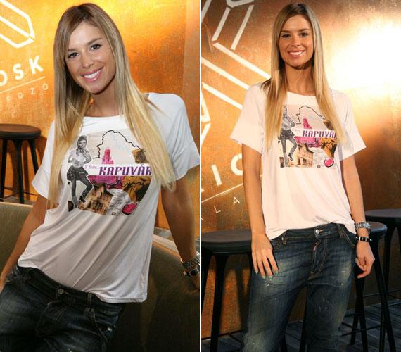 Dukai Regina modell pólóján Kapuvár képe és neve díszeleg.