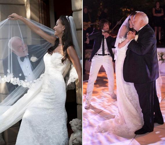 Az esküvői kreáció kiemelte a menyasszony karcsú alakját. Az első táncot Edvin Marton, a világhírű magyar hegedűművész húzta el nekik.