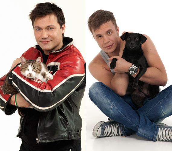 Kovács Áron tévés és rádiós műsorvezető egy macskával, Fekete Dávid énekes egy kisméretű kutyával az ölében fotózkodott.