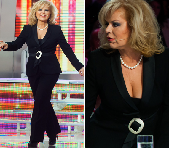 2013. március 31-én, a szórakoztató műsor fináléjában ezzel a mélyen dekoltált nadrágkosztümmel vonta magára a figyelmet, bebizonyítva, hogy egy nő a hatodik ikszen túl is lehet vonzó.