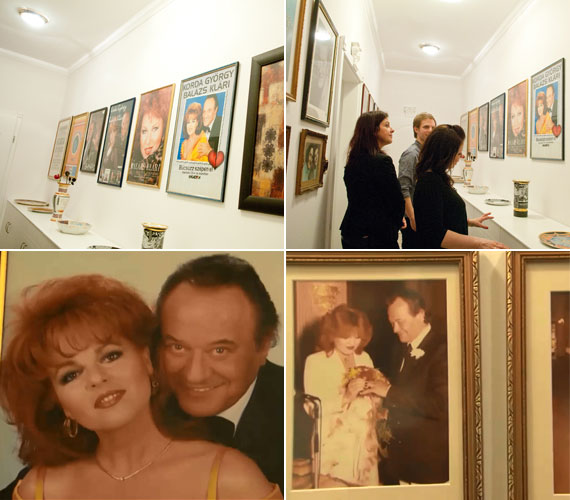 A falon függő értékes festmények között láthatóak a házaspár arany- és platinalemezei, valamint a fotóik - köztük az esküvői fényképek 1982-ből.