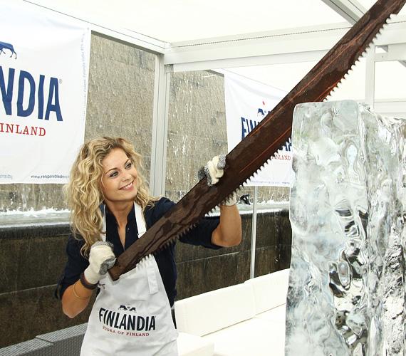 A bájos sorozatsztár nem ijedt meg a feladattól, a jégtömböt ugyanis egy óriási, speciális jégfűrésszel kellett megbontani.
