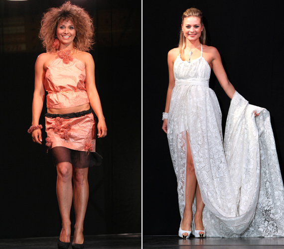 Karsai Zita barackszínű darabban mutatta meg lábait, míg Bálizs Anett fehér csipkecsodában kápráztatta el a nézőket.
