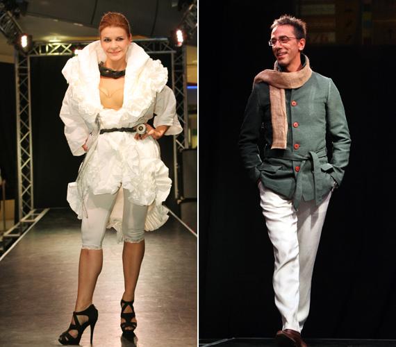 Schell Judit egy hófehér ruhakölteményben pompázott, míg az egyetlen férfi modell, Csonka András egy elegáns kabátban vonult végig a kifutón.