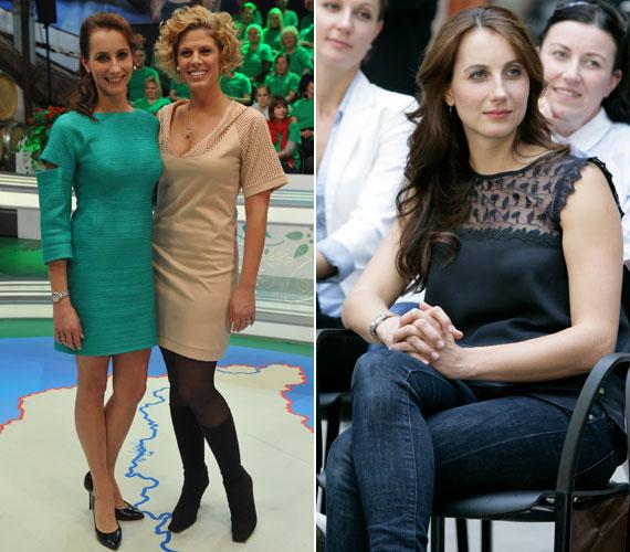 Balla Eszter és barátnője, Oroszlán Szonja a Magyarország, szeretlek című műsor ünnepi kiadásában. A Moszkva tér sztárján négy hónappal a szülés után egy gramm felesleg sincsen.