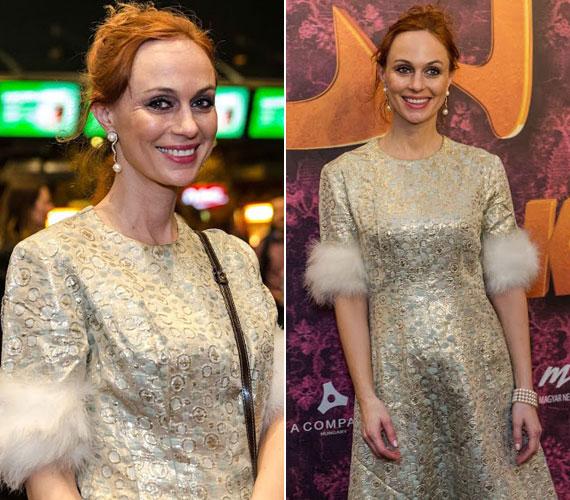 A Liza, a rókatündér Ingéje, Gubík Ági egy pezsgőszínű, prémmel díszített kreációban jelent meg a premieren.