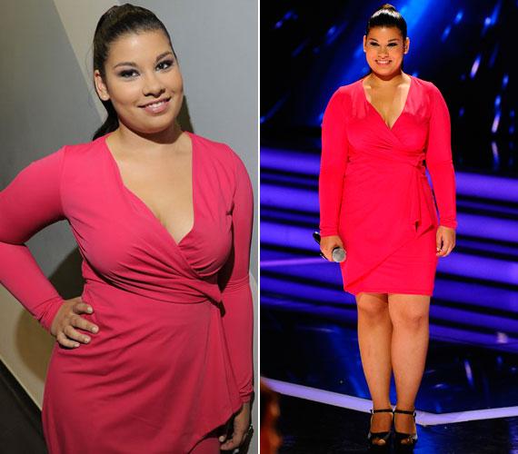 Az első élő show-ban is hasonló szabású ruhát viselt: ez a pink kreáció is jól állt neki.