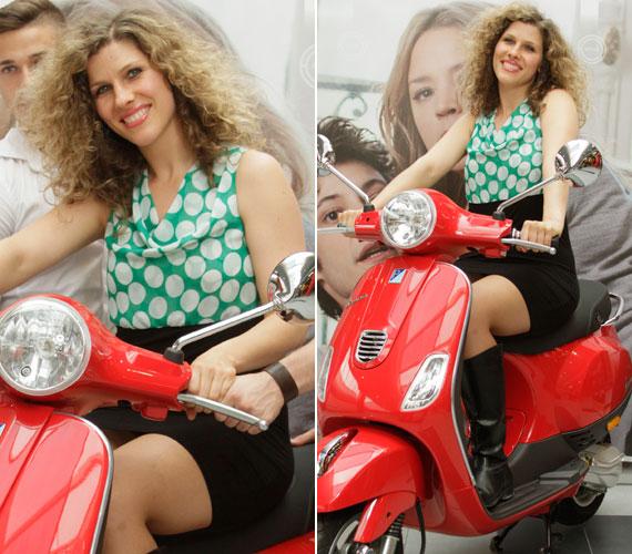 Fábián Juli énekesnő, aki tavaly aratott nagy sikert A Dalban, ugyancsak egy zöldes árnyalatú ruha mellett döntött.