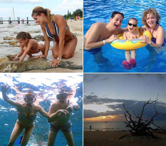 Nemcsak a szülők és kislányuk élvezte a tengert és a napsütést: arra is rávették a 60 év feletti nagyszülőket, hogy próbálják ki velük a pipás búvárkodást, a snorkelinget.