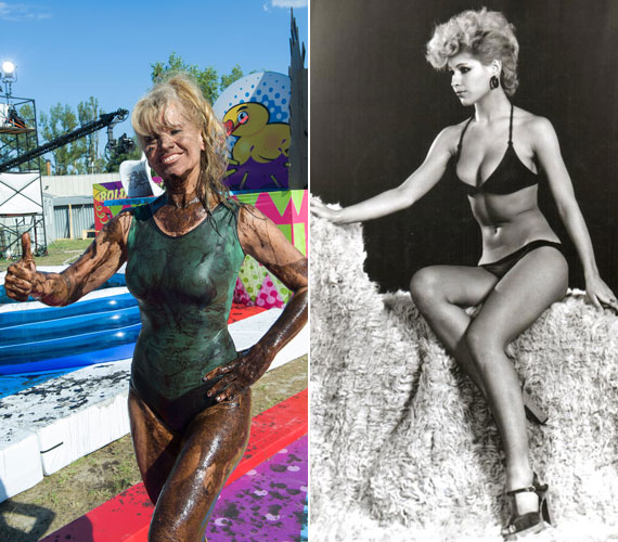 Bíró Ica az Ezek megőrültek forgatásán és fiatal fotómodellként bikiniben - az alakjával ma is bármikor vállalhatna egy fotózást a strandon.