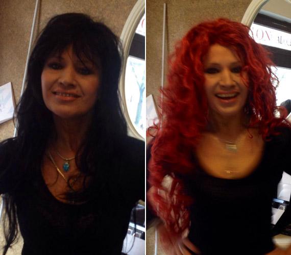 Az énekesnő, fitneszszakértő hosszú, fekete és rézvörös, hullámos hajjal is kacérkodott.