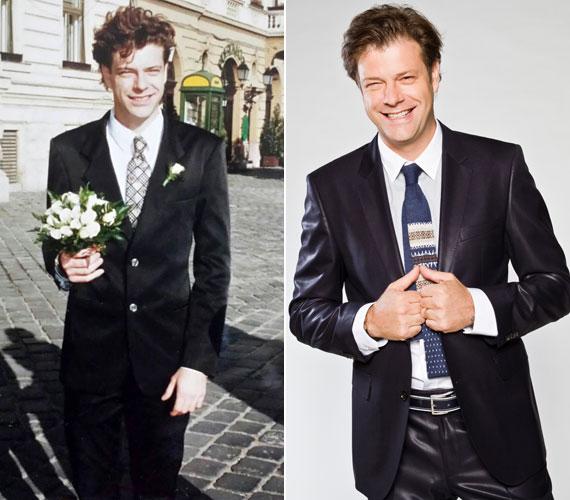 Till Attila 16 évvel ezelőtt és napjainkban. A TV2 műsorvezetője egy héttel ezelőtt, a 16. házassági évfordulója alkalmából tette fel a bal oldali képet a Facebook-oldalára.