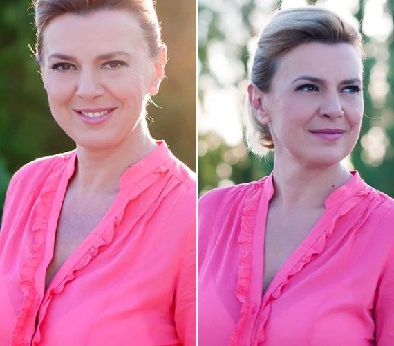 A pink szín kifejezetten jól áll a 45 éves televíziós műsorvezetőnek, üdévé varázsolja az arcát.
