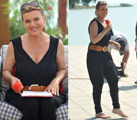 Borbás Marcsi szokatlanul vagány volt ebben a fekete overallban - a ruhadarab még idén nyáron is divatos.