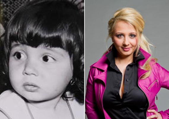 A TV2 műsorvezetője, Gombos Edina barna hajú, barna szemű kislányból szőke szépséggé vált.