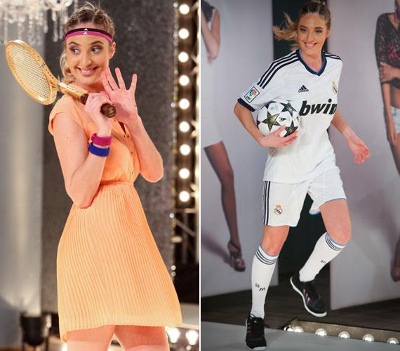 Aljona a barackszínű, szoknyás teniszruhában és a focis szettben egyaránt nőies volt.