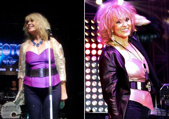 Csepregi Éva 1977-től erősítette a Neoton csapatát. Ám az énekesnő mindig ügyelt arra, hogy a színpadon jól öltözött és kívánatos legyen. 4 kilótól szabadult meg az utóbbi pár hónapban, ami nemcsak a külsején, de a közérzetén is látszik. A két kép egy év különbséggel készült, mindkettő december végén.