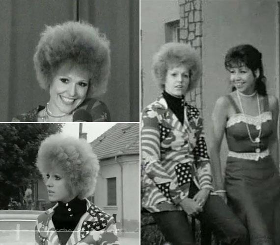 Csongrádi Kata színésznővel 1977-ben a Robog az úthenger című tévésorozatban.