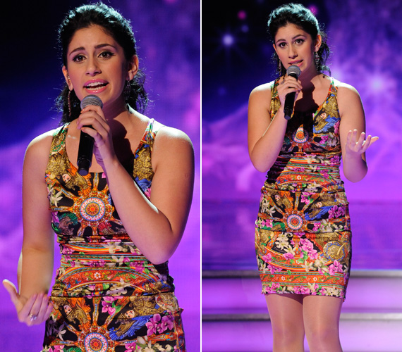 Radics Gigi, akit a zsűri szavazott a döntőbe, egy tiritarka, távol-keleti motívumokkal díszített ruhában mutatta meg kifogástalan alakját.