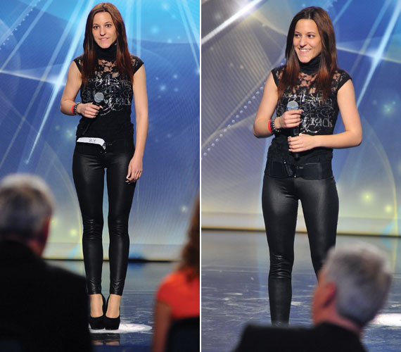 Igazi bombanő volt testhezálló, fekete nadrágjában és magas sarkú cipőjében.