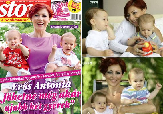 Erős Antónia, az RTL Klub híradósának ikrei 2009. július 29-én születtek meg. Szonja Mária és Mátyás Iván egy éves korukban szerepeltek a Story magazin címlapján és az RTL Klub kamerái előtt is, de édesanyjuk nem szeretné mutogatni őket.