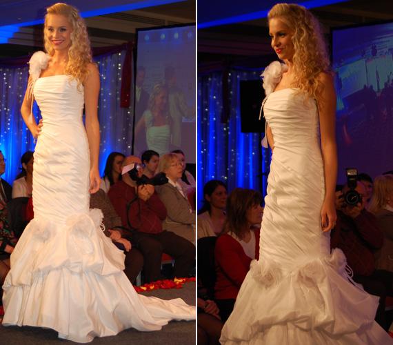 Iszak Eszter, a VIVA TV modellmúlttal rendelkező műsorvezetőnője egy fehér, uszályos ruhakölteményben varázsolta el a közönséget.