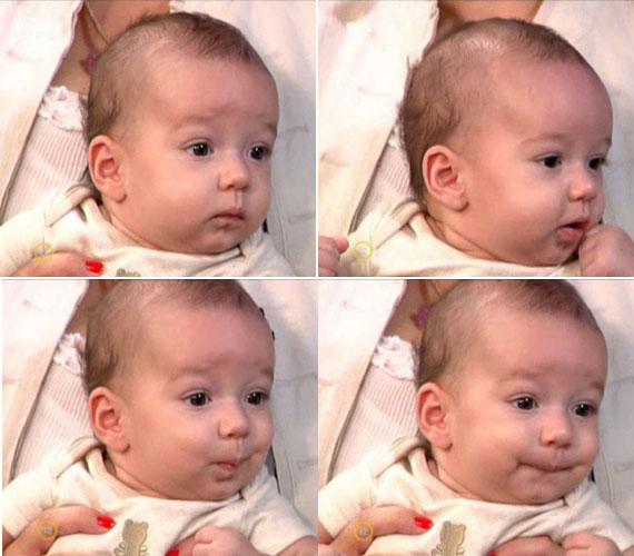 Csisztu Zsuzsa szerint a legkisebb családtag jókedvű, kedves baba, csak akkor sír, ha éhes, ami gyakran megesik, a kis Adrián egy igazi kis haspók.