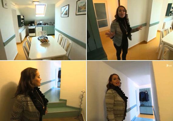 A lakásba vezető folyosón és a konyhában is a zöld szín az uralkodó. Mivel az étkezőt négy emberre tervezték, a vendégeket a nappaliban fogadta.