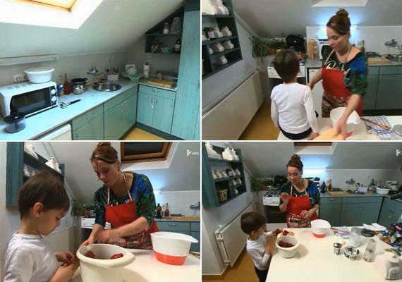 Lassan hétéves nagyfia, Krisztián lelkesen segített a konyhában édesanyjának a főzési előkészületekben.