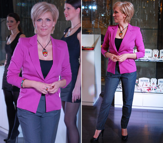 Barabás Éva, az RTL Klub műsorvezetője üde színfoltja volt az estnek élénkpink blézerével.