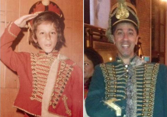 A gyerek Csonka Pici és a felnőtt huszárnak öltözve - a két felvételt 2013 nyarán posztolta.