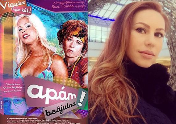 Barbi és Szakra a 2003-as Apám beájulna című vígjáték plakátján, illetve a 31 éves Csősz Boglárka napjainkban.