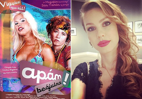 Barbi és Szarka, vagyis Csősz Boglárka és Gáspár Kata az Apám beájulna plakátján. A 31 éves színésznő ma már nem platinaszőke, vérbeli díva lett belőle.