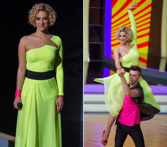 Danics Dóra, a magyar X-Faktor eddigi egyetlen női nyertese neonzöld ruhában vonta magára a Szombat Esti Láz nézőinek figyelmét.