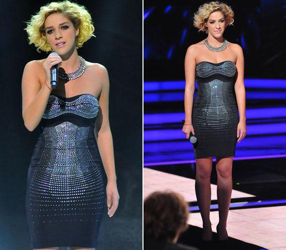 A hatodik élő show-ban viselt fekete, ezüst strasszokkal díszített ruhája is a nézők nagy favoritja volt - a műsor Facebook-oldalán sokan rajongtak érte.