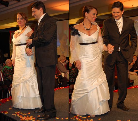 Csisztu Zsuzsa ruhája, amelyet egy jótékonysági eseményen az Országos Mentőszolgálatot támogató ruhabemutatón vett részt: az általa viselt esküvői ruha mellrésze kissé szűknek tűnt.