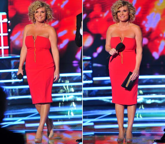 Liptai Claudia a Megasztár egyik élő show-jában volt látható ebben a testhezálló, tűzpiros ruhában, aminek mintha lecsúszott volna a cipzárja.