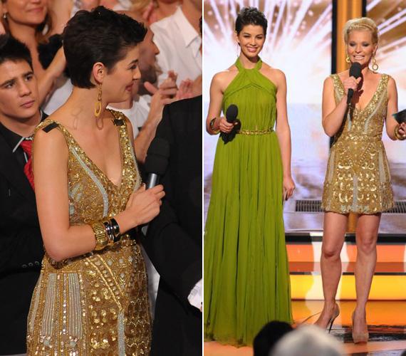 A Csillag Születik döntőjében Ördög Nóra és Lilu is viselte azt az aranyszínű miniruhát, amelyet mélyen dekoltált a tervező.