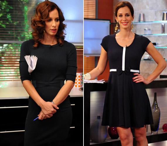 Az irigylésre méltóan karcsú tévésnek a szűk és szokatlanul rövid fekete ruha is remekül áll.