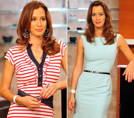 A piros-fehér csíkos, matrózmintás ruha és a halványkék, derékban karcsúsított fazon is hangsúlyozza a tévés darázsderekát.