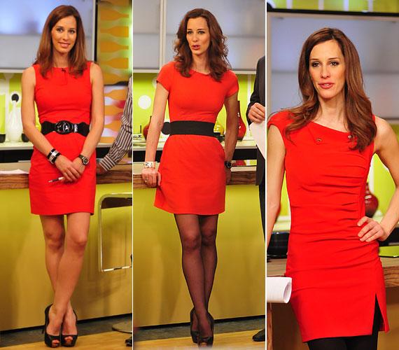 A vörös remekül áll a műsorvezető hajszínéhez: az utóbbi hetekben többször is választott hasonló, dögös egyberuhát.
