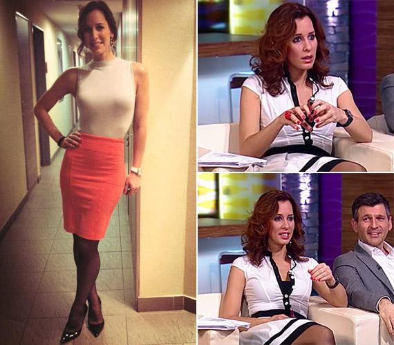 Rajongói még a szerdán viselt ruhájáról is kiköveteltek egy képet, de a műsorvezető egy darabig nem ígért több divatfotót. Hétfőn a jobb oldali fekete-fehér kreációt viselte.
