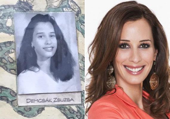 Demcsák Zsuzsa 17 évesen a volt gimnáziumának tablóképén. Sokat nem változott a műsorvezető, hajának színe és hossza is ugyanaz.