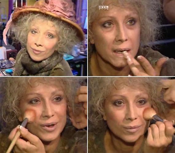 Az RTL Klub Reflektor című műsorában megmutatta, hogyan alakult át sok-sok festék, egy ősz paróka és bő ruhák segítségével öreg koldusasszonnyá.
